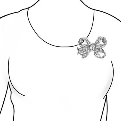 Bling Jewelry Broche Argentée Triple Noeuds Papillon Sertie de Cristaux