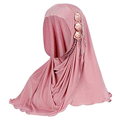 Women's Headbanda Muslim Islamic Solid Crystal Hem Flower Hijab Cap Head Scarf Shawl Turban Headbands: Jewelry