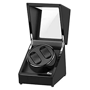 Abosi Double Watch Winder Box for Automatic Watches or Rolex, AC or Battery Powered Super Quiet Japanese Motor, 5 Rotation Mode Setting, for Lady and Man