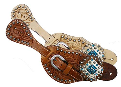 Showman Ladies Tooled Leather Spur Straps w/Diamond Shaped Blue Rhinestone Conchos! New Horse TACK! (Light) (Diamond Shaped Conchos)