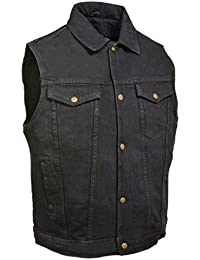 Men's Motorcycle Denim Vest In Black Blue Jean Style 2 Gun Pocket Single Back