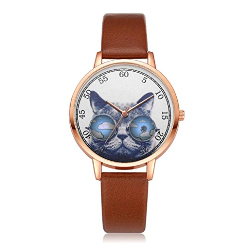 Movement Brown Dial (Women Girls Analog Quartz Watches On Sale Clearance Cuekondy Casual Leather Band Cat Printing Dial Dress Wrist Watch (Brown))