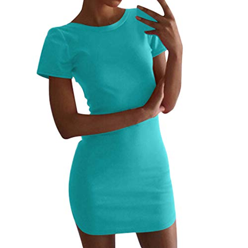 ♖Loosebee♜ Women Summer Short Sleeve Sheath Dresses Irregular Mini Dress Stretchy Bodycon T Shirt Hip Skirt Party Dress ()