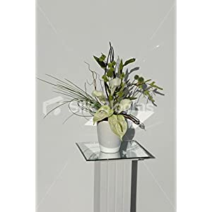 Modern Green & Cream Anthurium & Calla Lily Vase Display 1