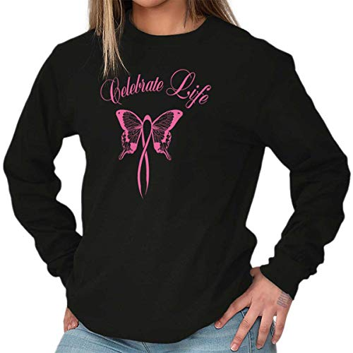 (Classic Teaze Celebrate Life Breast Cancer Awareness Long Sleeve T Shirt Black )