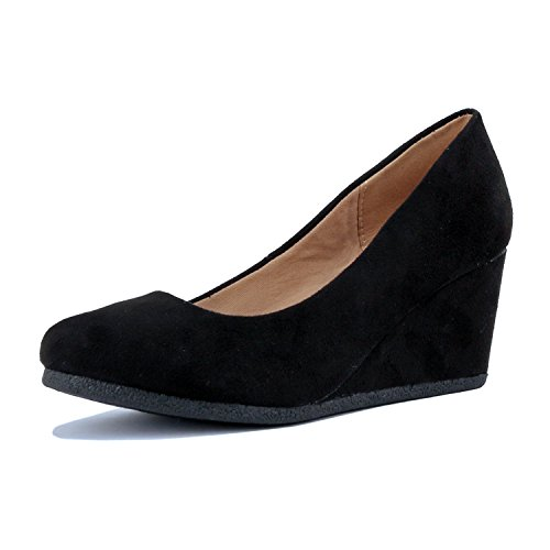 Guilty Shoes - Classic Office Wedge - Comfort Soft Low Heel - Round Toe Pumps Shoes, Black Suede, 7