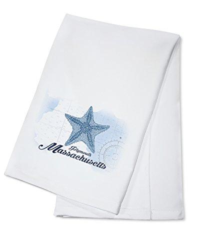 (Plymouth, Massachusetts - Starfish - Blue - Coastal Icon (100% Cotton Kitchen Towel))