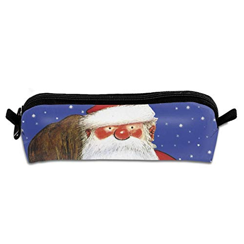 TDynasty Blushing Santa Claus Pencil Bag Organizer Canvas Pencil PouchStationery Pouch Bag with Pen Bag Zipper Gifts for School Office