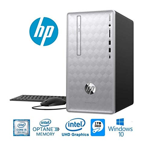 HP Pavilion 590 Desktop Computer, Intel 6 Cores i5-8400, 2.8GHz up to 4GHz, 8GB RAM + 16GB Intel Optane Memory, 1TB HDD, DVD, Bluetooth 4.2, USB 3.1, HDMI, 802.11ac, Windows 10 (Renewed)