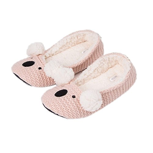 MiYang Winter Womens Super Soft Bunny Ballerina Slipper Pink Mouse