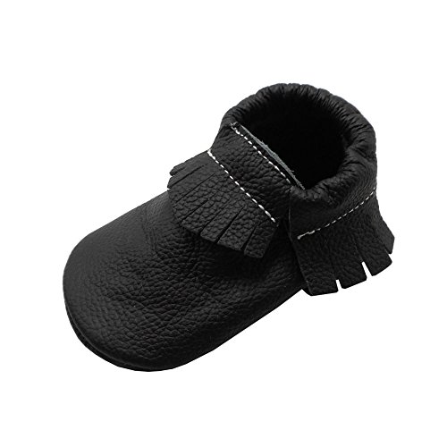 Baby Tassel Soft Leather Shoes boys girls sandal Infant Kids Crib Toddler First Walkers Moccasin black