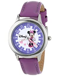 Disney Kids' W000039 Minnie Mouse Time Teacher Stainless Steel Watch with Purple Leather Band
