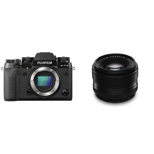 Fujifilm X-T2 - Cámara sin espejo de óptica intercambiable de 24,3 MP, negro - solo el cuerpo + Fujifilm Fujinon XF35mmF1.4 R - Objetivo para Fujifilm X (distancia focal fija 35mm, apertura f/1.4-16, zoom óptico 4 diámetro: 52m
