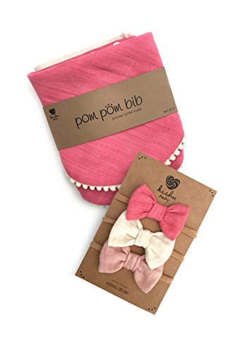 kishu baby Girl Pom Pom Bibs and Bows Gift Set for Girls, Pink Ivory, multicolor, One Size by Kishu Baby