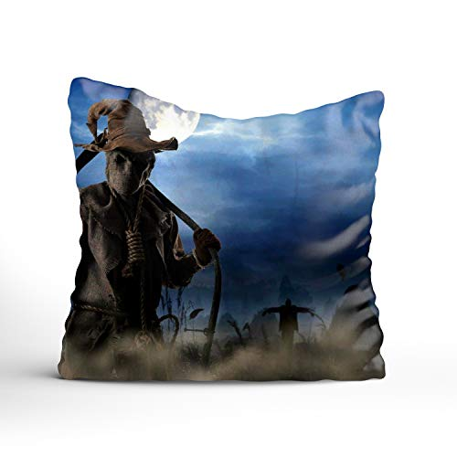 Fornate Really Scary Halloween Printed Square Throw Pillow Case 24x24 inch Home Decorative Sofa Pillowcase Cushion Cover for $<!--$6.48-->
