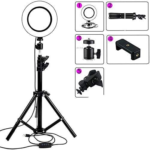 """6"""" 三脚と自分撮りリングライトは、スタンド&ライブストリーム/メイクアップ、iPhoneおよびAndroidYouTube/写真のための互換性の調光対応LEDカメラ用携帯電話ホルダー"""