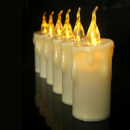 Cozeyat Pillar Candles AA Battery Operated, Long Lasting Different Sizes Flameless Candles Yellow Electronic Led Lights for Fireplace Outdoor Christmas Decor (M) by Cozeyat