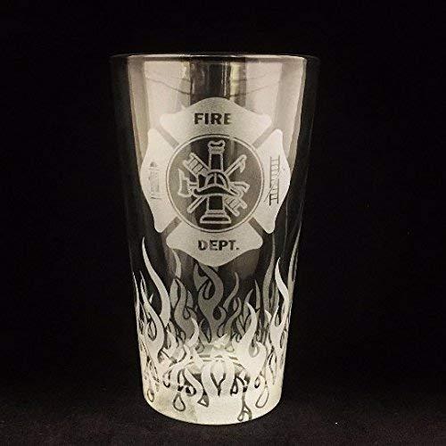 Fire Department, Pint glass, Beer Stein, Fireman Gift, Fireman gifts, Firefighter gift, Firefighter gifts, Flames, Beer stein, Firefighter retirement, Firefighter graduation, Fireman retirement -