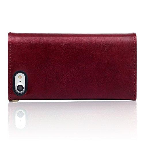Terrapin Borsellino Custodia Premium di Cuoio del Raccoglitore per iPhone 7 Custodia, Colore: Rosso, del Puntino di Polka Interno
