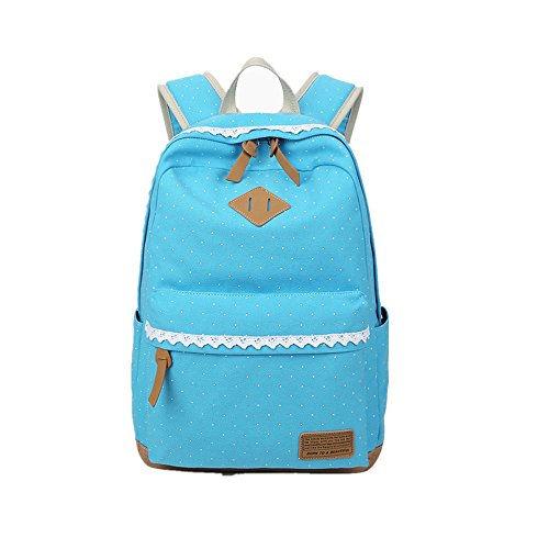 Moda lindo encaje Polka Dot Casual lona portátil bolsa escuela mochila mochilas ligeras para niñas adolescentes varios_colores