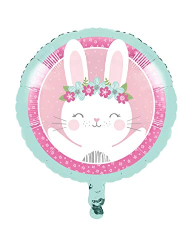 Creative Converting Party Supplies, Bunny Party Mylar Balloon, Balloon, Multicolor, 18in