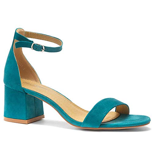 Herstyle Sunday Women's Open Toe Ankle Strap Block Chunky Low Heeled Sandal Comfortable Office Pump Shoes Teal 7.0