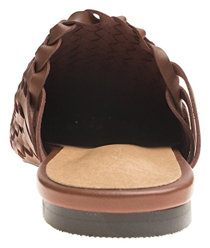 Slide AnnaKastle Soft Mule Woven Vegan Brown Womens Slippers Flat Leather 5rXZq7rgw