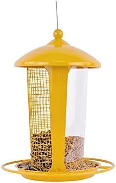 Pet Online Comedero para pájaros al aire libre separador de cinta de plástico de doble uso alimentador automático para pájaros alimentador amarillo