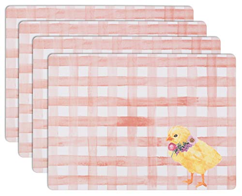 House and Home Cork Placemats 16 x 12-Inch Set of 4 (Easter Floral Chick Gingham Pink)