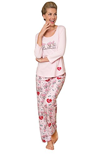 - PajamaGram Ladies Pajamas Sets Cotton - Lucy Women's Pajamas, Pink, L, 12-14