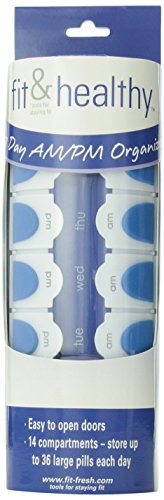 Fit & Fresh - Fit & Healthy 7 Day AM/PM Vitamin Pill Box and Organizer, Day and Night Pill Case Container, Easy to Open Compartments for Vitamins, Pills, Supplements, Medication from Fit & Fresh