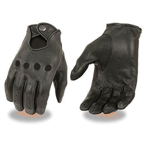 Milwaukee Leather Men's Deer Skin Perforated Gloves with Button Closure (Black, X-Small)