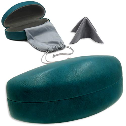 Hard Eyeglass Eye Case - Hard Eyeglass & Sunglasses Case with Microfiber Cleaning Cloth | For Men and Women | Oversized To Protect Glasses w/Extra Large Frames | Clamshell | AS179 Teal |