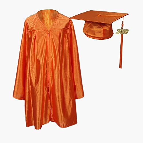 Cap and Gown Direct Preschool and Kindergarten Graduation Cap and Gown, Tassel and 2019 Charm Shiny Orange]()