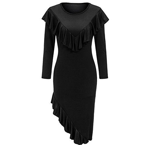 Cocktail Shoulder Black Full Bodycon4U Medium Women's One Dress H7FxAwtTq