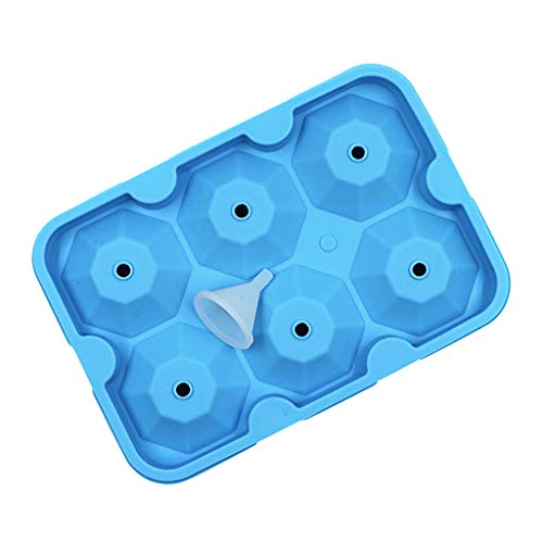Ice Ball Maker Mold - Black Flexible Silicone Ice Tray - Molds Diamond Round Ice Ball Spheres (Blue)