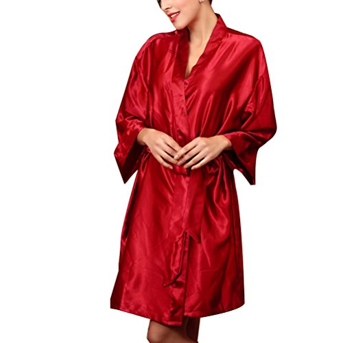 Zhhlinyuan Womens Home Silk Sleepwear Fashion Summer Long sleeves Nightgown One size Red