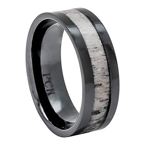 deer antler ring in black ceramic 8mm comfort fit wedding band 105 - Deer Antler Wedding Rings