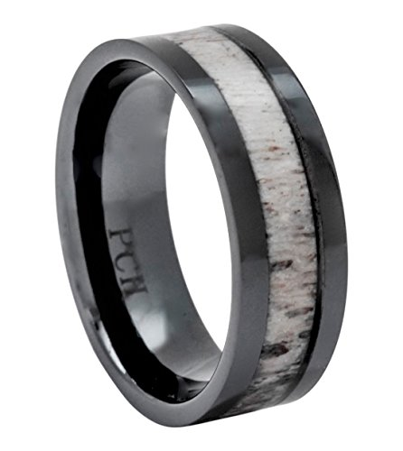 Deer Antler Ring in Black Ceramic 8mm Comfort Fit Wedding Band (9)