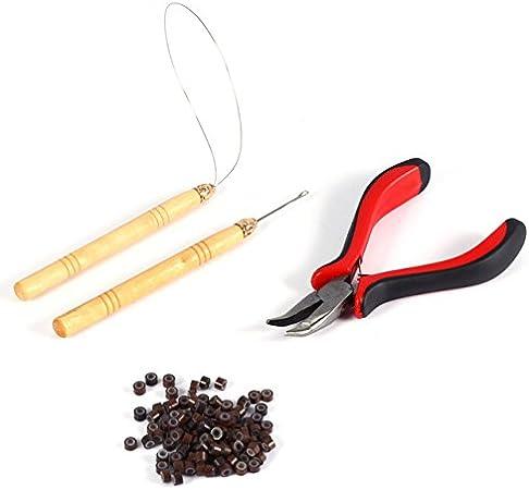 1Pieza alicates + 1pc tirar aguja + 1pc anillo Aguja + 200pcs perlas de silicona Micro enlaces/extensiones de pelo herramienta Kits de maquillaje Set