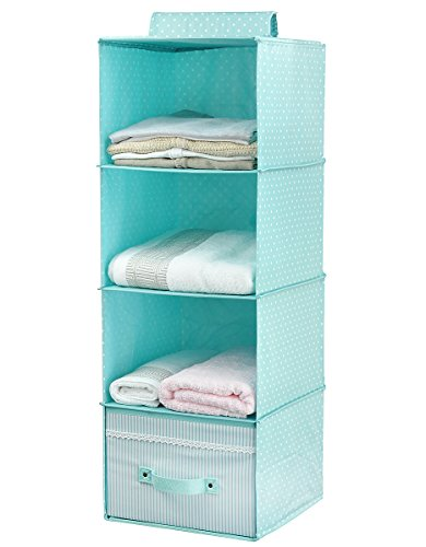 - iwill CREATE PRO Hanging Clothes Storage for Kids with Drawer (4 Shelving Units), Closet Organizer for Clothes & Accessory, Cute Color (Mint Green)