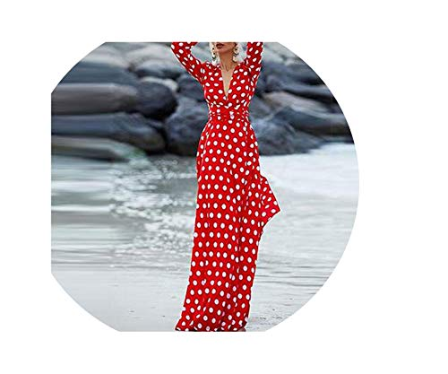 Women Polka Dots Split Sexy Bohemian Dress High Waist Pleated Fashion Summer Plus Size Long Dress,Red,L