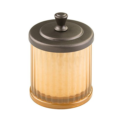 InterDesign Alston Bath Collection, Bathroom Vanity Canister Jar for Cotton Balls, Swabs, Cosmetic Pads - Amber/Bronze