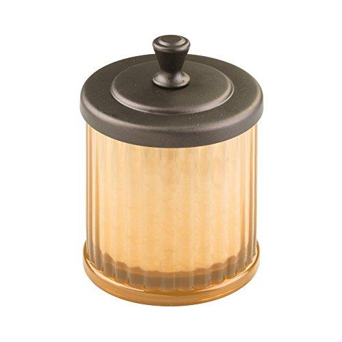 InterDesign Alston Bathroom Vanity Jar – Storage Canister for Cotton Balls, Swabs, Cosmetic Pads, Amber/Bronze by InterDesign