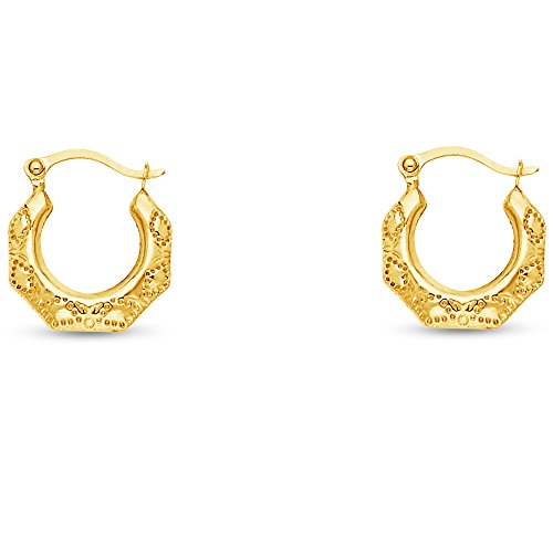 14k Yellow Gold Fancy Filigree Hoop Earrings (13 x 13mm)