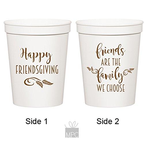 Thanksgiving White Plastic Stadium Cups - Happy Friendsgiving (10 cups)