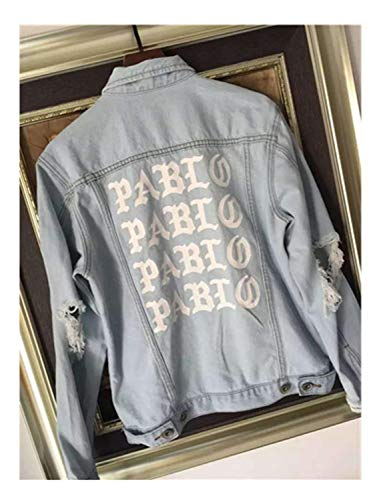 Jeff Tribble New Pablo Kanye West Denim Jackets Men The Life of Jeans Oversized Denim Jacket Coats White XL