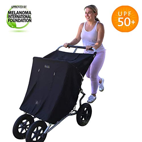 Double Stroller Cover & Sun Shade | Award-Winning Blackout Blind and Baby Sleep Aid | Stops 99% of The Sun
