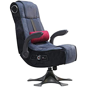 X-Rocker 5129201 Pedestal Video Gaming Chair 2.1 Wireless Microfiber Mesh, Blue/Charcoal