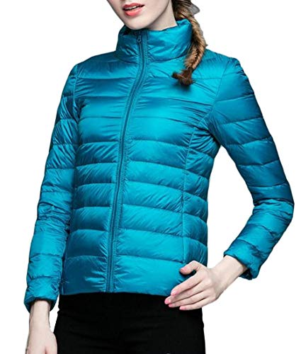 Packable EKU Blue Quilted Puffer Slim Coat Womens Lightweight Jacket UrWwqpErxP